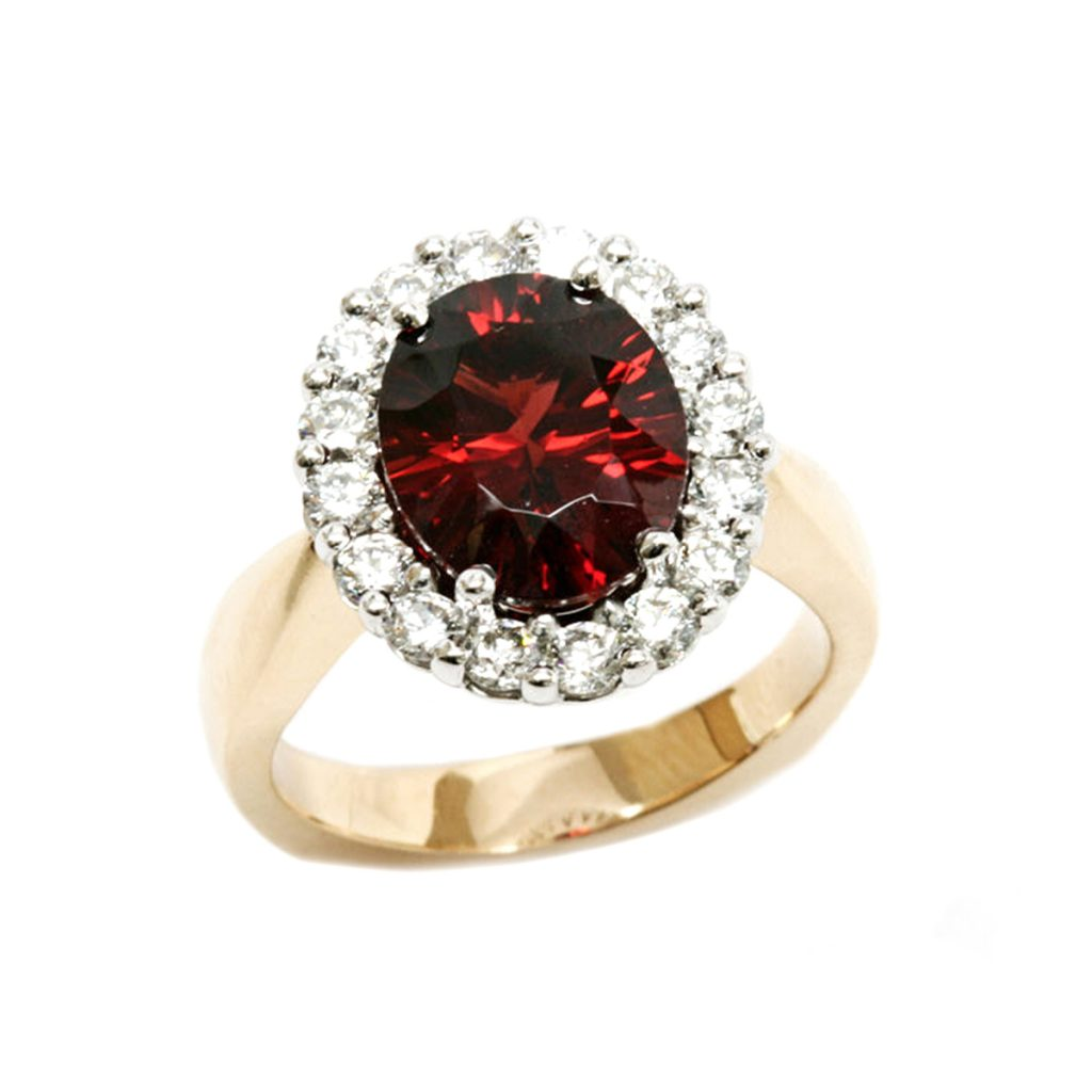 14K Two-Tone Oval Garnet and Diamond Halo Ring