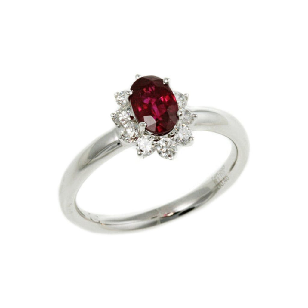 14K White Gold Oval Ruby and Diamond Halo Ring