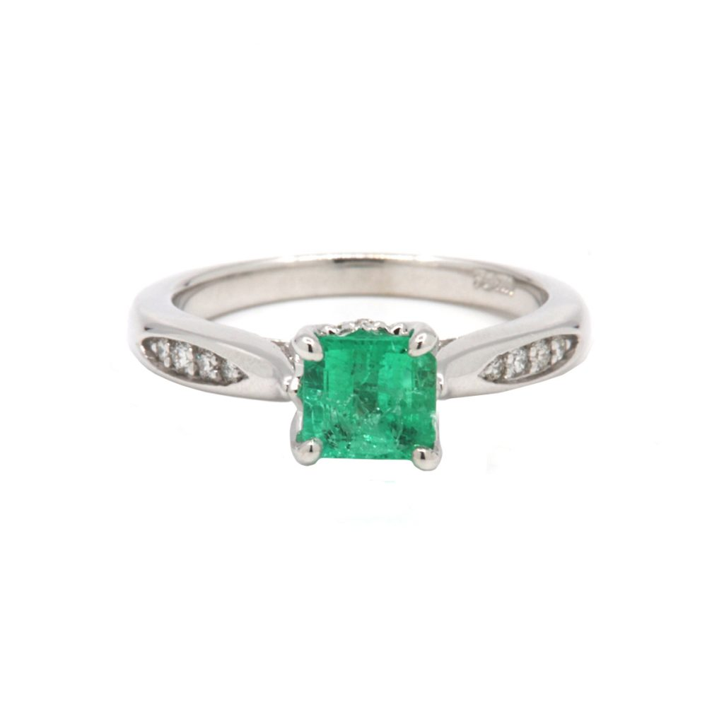 14K White Gold Emerald and Diamond Accent Ring