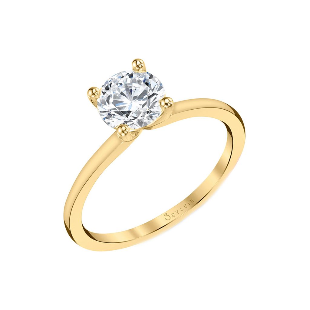 14K Yellow Gold Classic Solitaire Engagement Ring Mounting