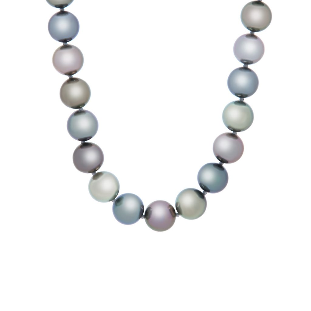 18K White Gold Multicolor Tahitian Pearl Necklace
