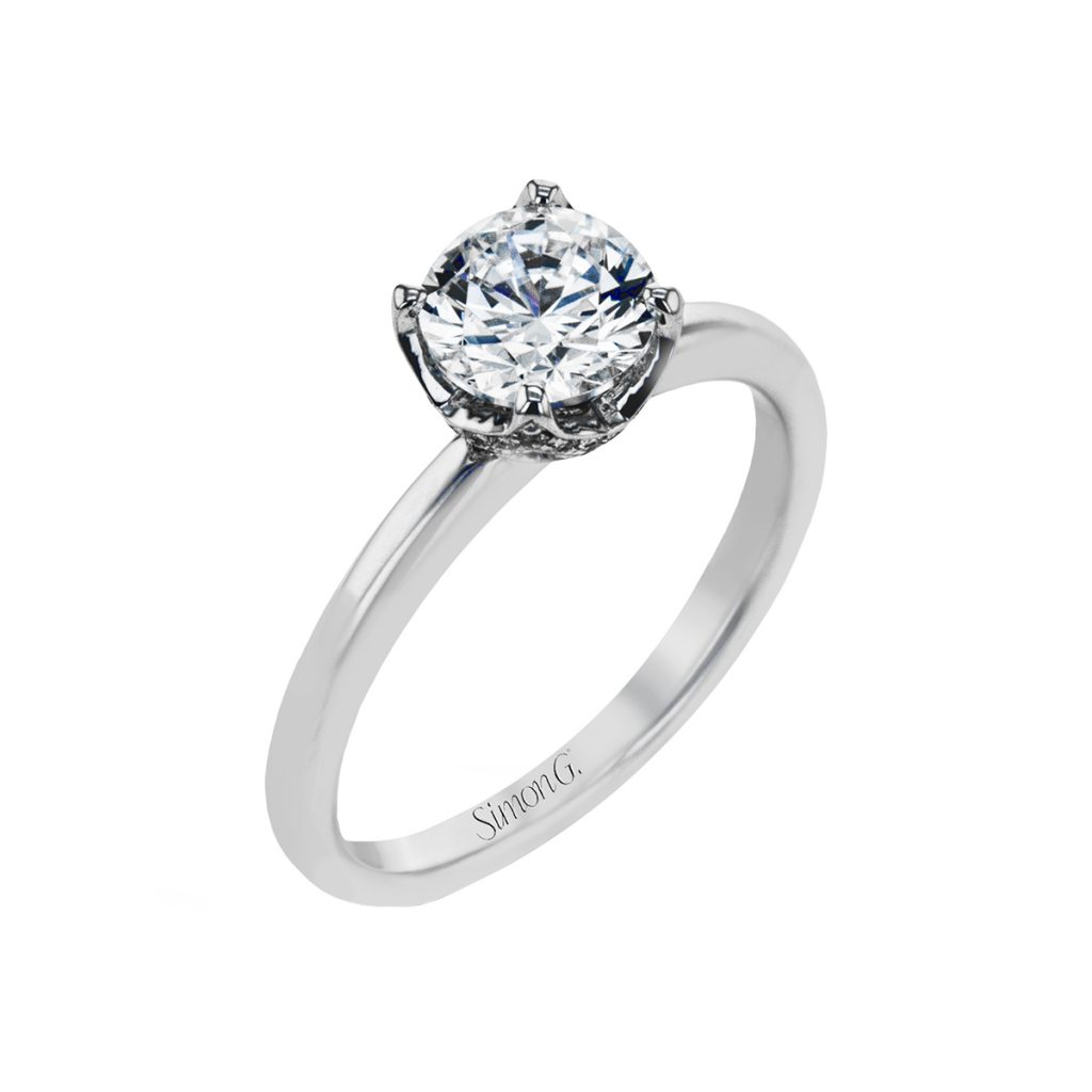 18K White Gold Solitaire Engagement Ring Semi-Mounting