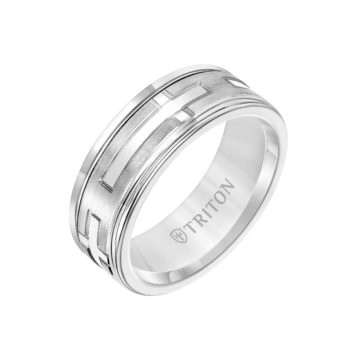 White Tungsten and 14K White Gold Cross Band