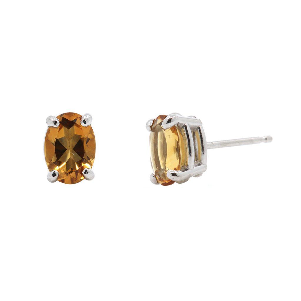 14K White Gold Oval Citrine Stud Earrings