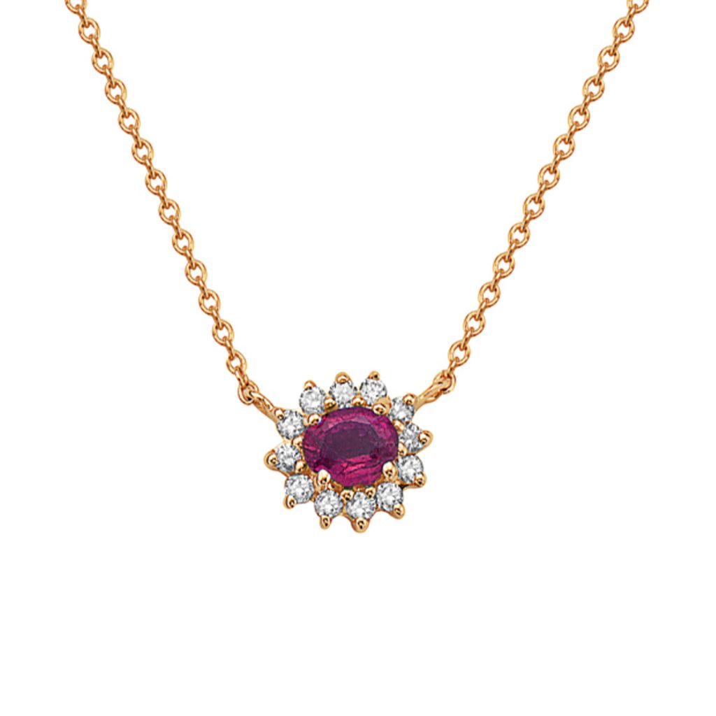 14K Yellow Gold Oval Ruby and Diamond Necklace