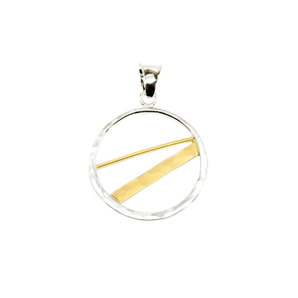 Two-Tone Circle Pendant with Cross Bar