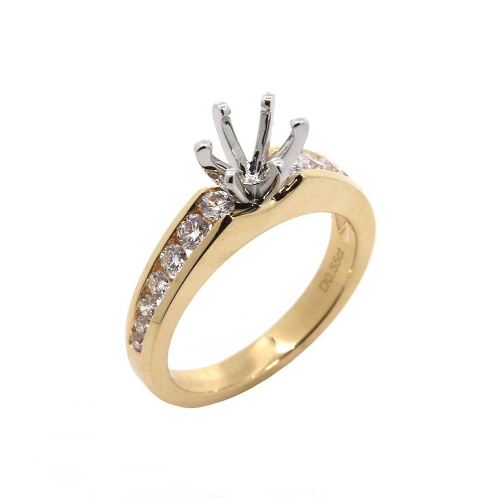 14K Two-Tone Channel Set Engagement Semi-Mounting