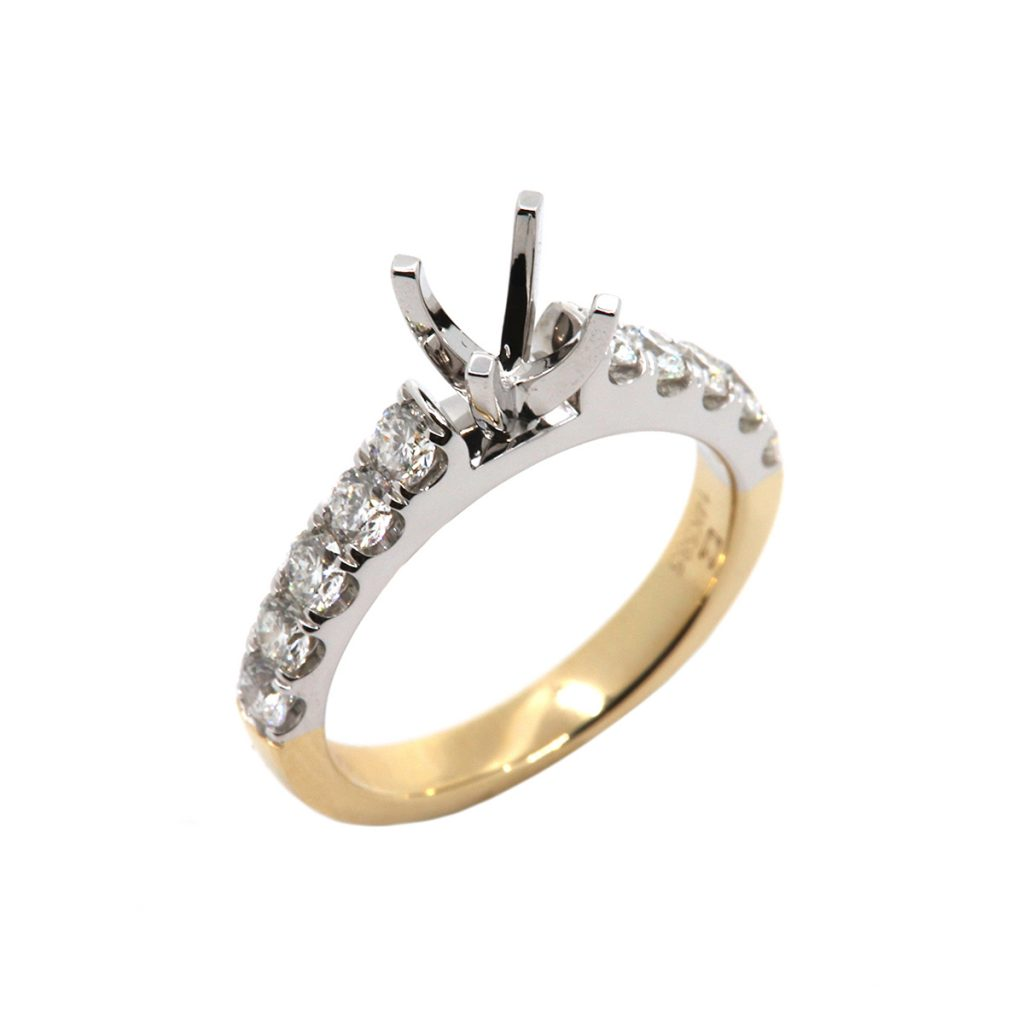 14K Two-Tone Classic Engagement Ring Semi-Mounting