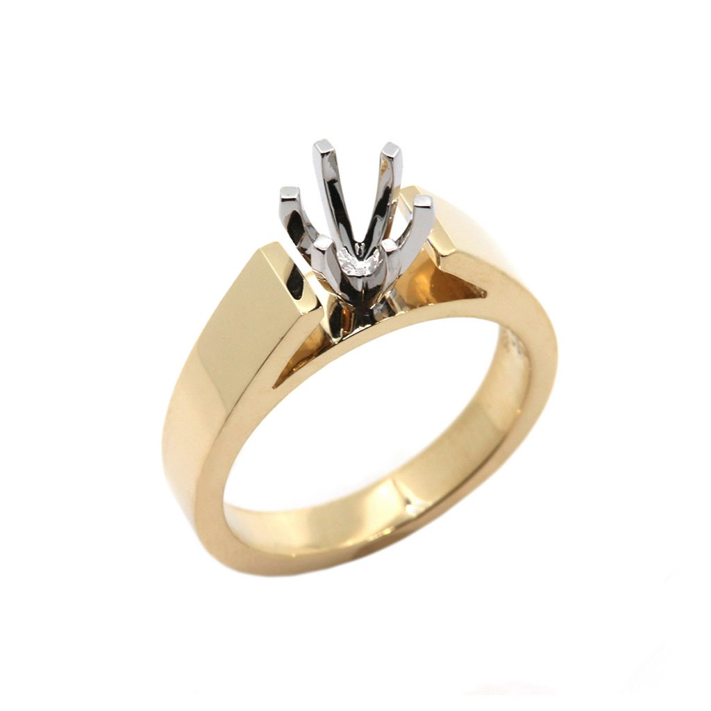 14K Two-Tone Six Prong Cathedral Solitaire Mounting