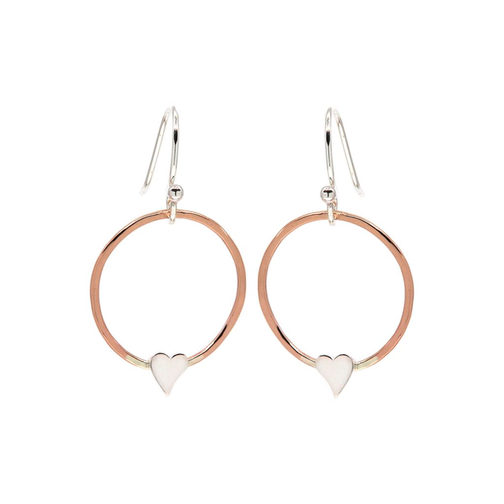 Sterling Silver and Rose Gold Filled Circle with Heart Earrings