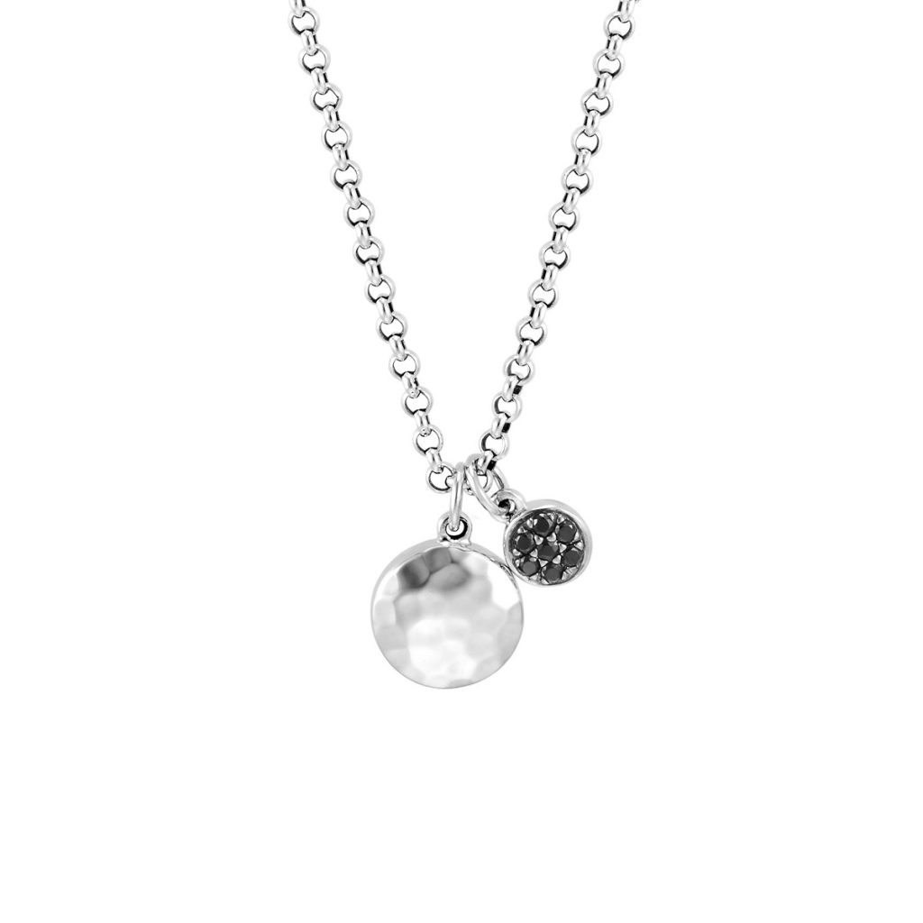 John Hardy Hammered Disc Pendant and Chain with Black Sapphire and Spinel