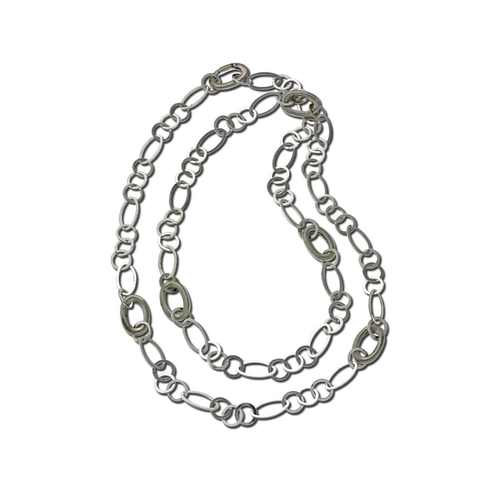 Sterling Silver Oval And Round Link Necklace