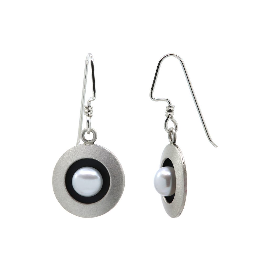 Sterling Silver Oxidized White Pearl Round Drop Earrings
