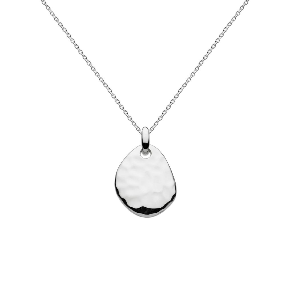 Sterling Silver Hammered Pebble Pendant with Chain