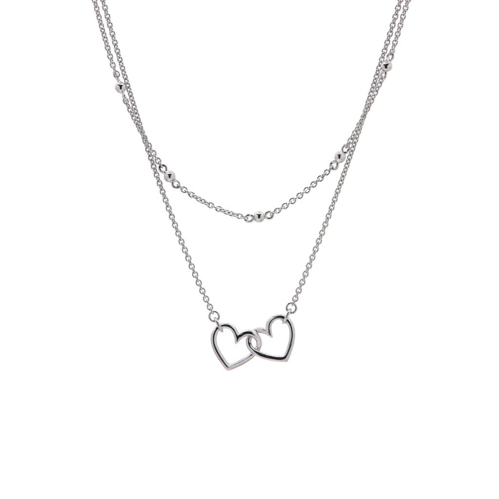 Sterling Silver Layered Double Heart Necklace