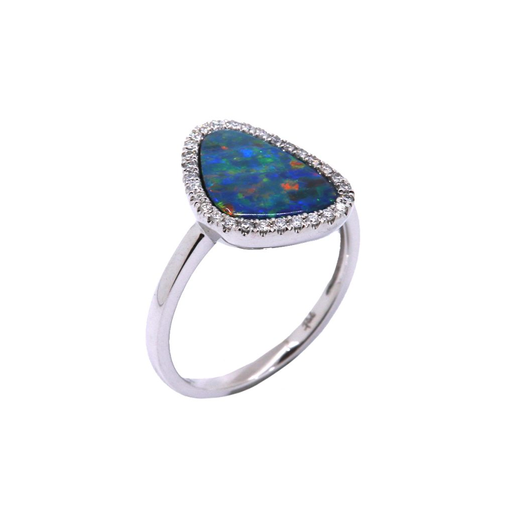 14K White Gold Opal Doublet and Diamond Ring