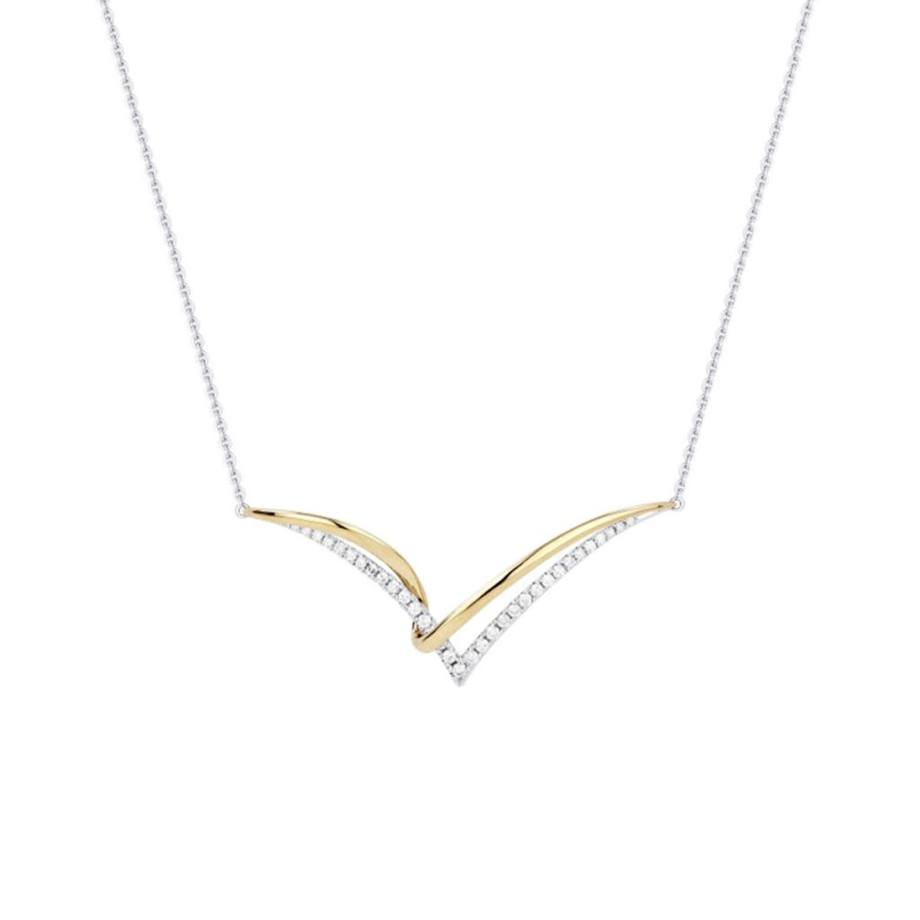 """14K Two-Tone Crossover """"V"""" Necklace"""