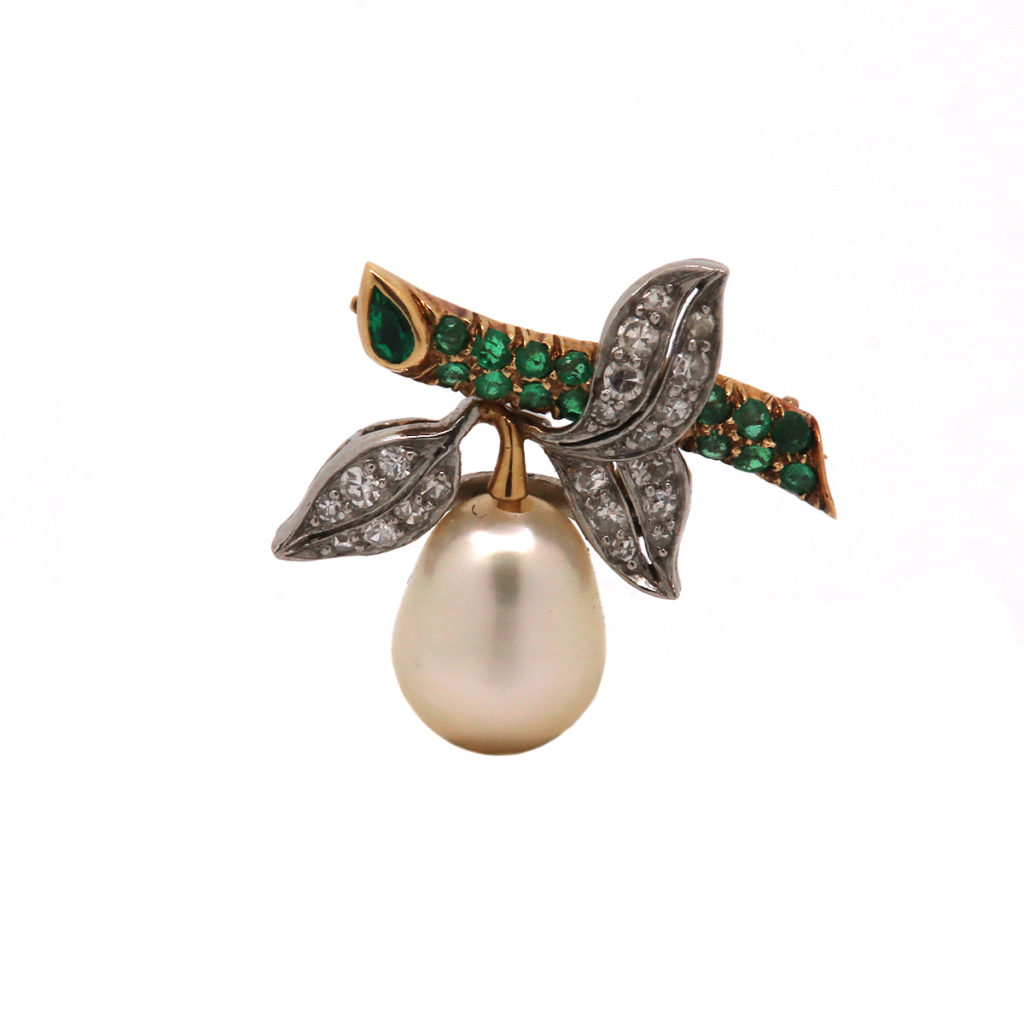 Estate Platinum and 18K Yellow Gold Pearl, Emerald, and Diamond Pin